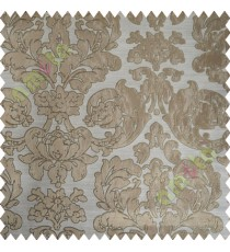 Beige Brown Damask Design Polycotton Main Curtain-Designs