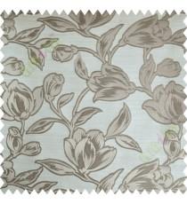 Beige Floral Leaf Buds Polycotton Main Curtain-Designs