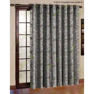 Beige Floral Leaf Buds Polycotton Main Curtain-Designs