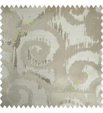 Beige Motif Polycotton Main Curtain-Designs