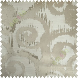 Beige Motif Polycotton Main Curtain-Designs