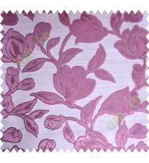 Pink Beige Floral Leaf Buds Polycotton Main Curtain-Designs