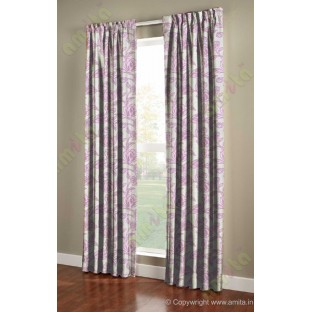 Pink Beige Floral Leaf Buds Polycotton Main Curtain-Designs