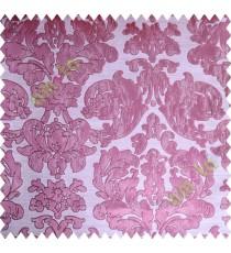 Pink Beige Damask Design Polycotton Main Curtain-Designs