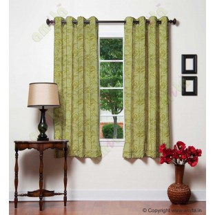 Yellow Green Floral Leaf Buds Polycotton Main Curtain-Designs