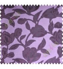 Dark Purple Floral Leaf Buds Polycotton Main Curtain-Designs