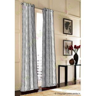 Dark Grey Vertical Zigzag Stripes Main Curtain-Designs