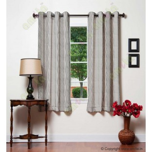 White Beige Vertical Zigzag Stripes Main Curtain-Designs