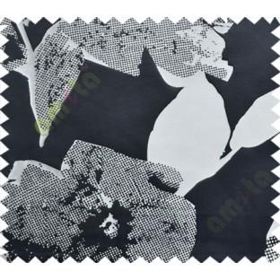 Black White Big Floral Design Linen Main Curtain-Designs