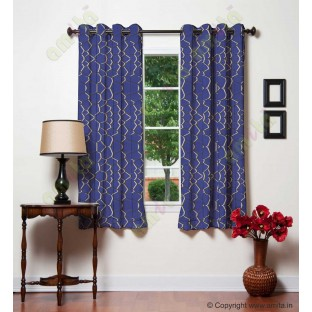 White Royal Blue Football Cover Linen Main Curtain-Designs