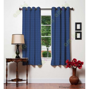 Royal Blue Dot Hole Textures Linen Main Curtain-Designs