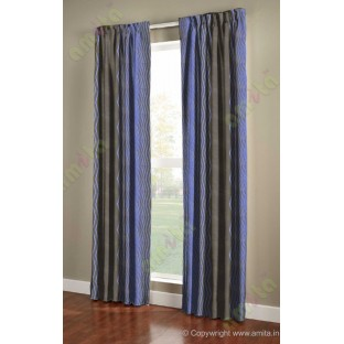 Dark Grey Royal Blue Vertical Zigzag Stripes Main Curtain-Designs