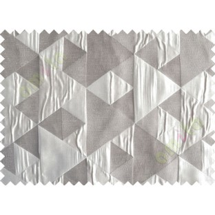 Grey Silver Majestic Pyramid Design Poly Main Curtain-Designs
