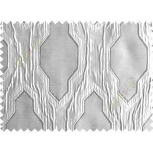 Grey Silver Ogee Design Poly Main Curtain-Designs