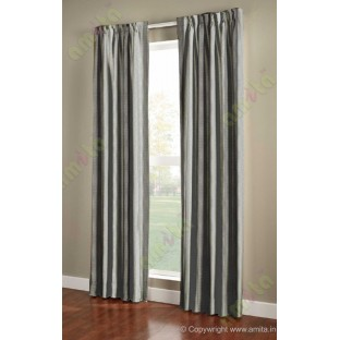 Black Silver Brown Wide Vertical Stripes Poly Main Curtain-Designs