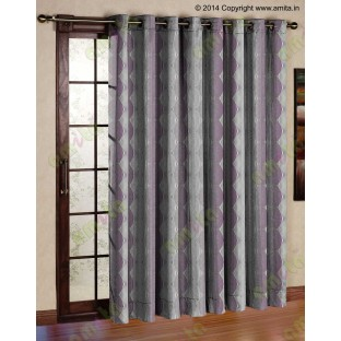Pink Silver Brown Geometric Design Poly Main Curtain-Designs