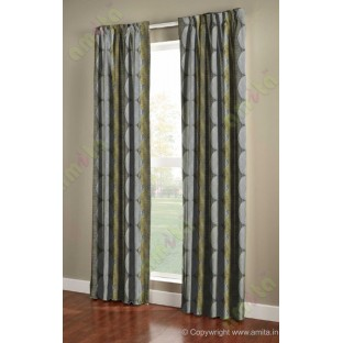 Yellow Green Black Silver Geometric Design Poly Main Curtain-Designs