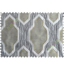 Yellow Green Black Grey Ogee Design Poly Main Curtain-Designs