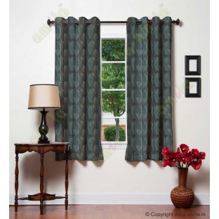 Blue Grey Black Geometric Design Poly Main Curtain-Designs