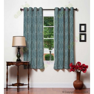 Blue Grey Ogee Design Poly Main Curtain-Designs