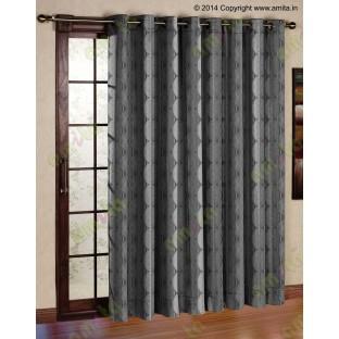 Black Grey Geometric Design Poly Main Curtain-Designs