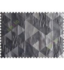 Black Grey Silver Majestic Pyramid Design Poly Main Curtain-Designs