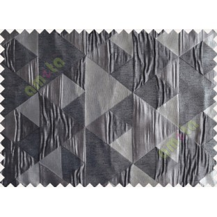 Black Grey Silver Majestic Pyramid Design Poly Main Curtain-Designs