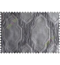 Black Grey Ogee Design Poly Main Curtain-Designs