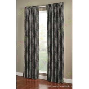 Black Grey Ogee Design Poly Main Curtain-Designs