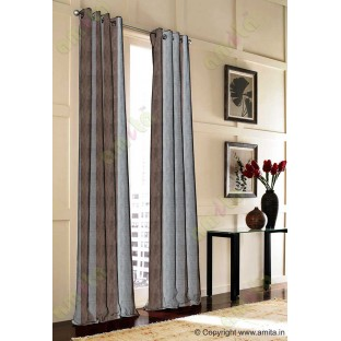 Brown Silver Black Wide Vertical Stripes Poly Main Curtain-Designs