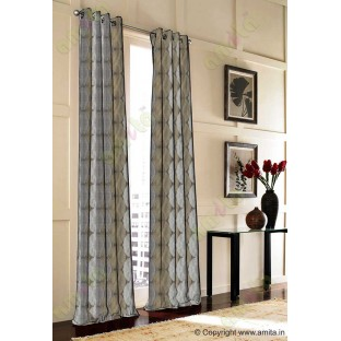 Brown Silver Geometric Design Poly Main Curtain-Designs