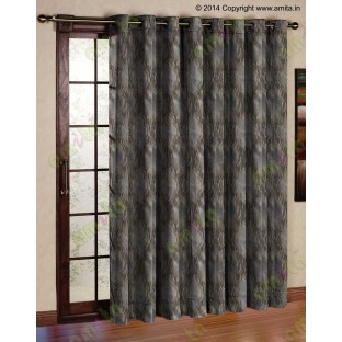 Brown Silver Black Ogee Design Poly Main Curtain-Designs