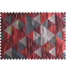 Maroon Grey Black Majestic Pyramid Design Poly Main Curtain-Designs