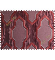 Maroon Grey Black Ogee Design Poly Main Curtain-Designs