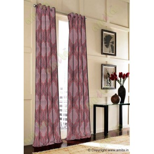Maroon Grey Black Ogee Design Poly Main Curtain-Designs
