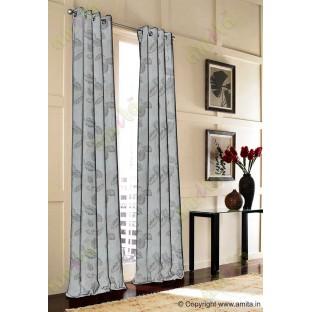 Beige grey colour natural floral leaf design poly main curtain designs