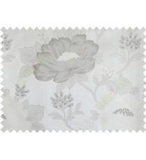 Beige grey colour beautiful natural big flower design poly main curtain designs