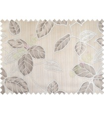 Brown grey beige colour natural floral leaf design poly main curtain designs