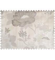 Brown grey beige colour beautiful natural big flower design poly main curtain designs
