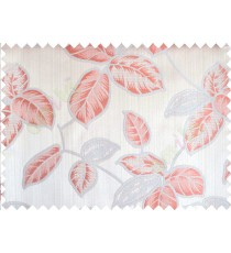 Orange silver brown colour natural floral leaf design poly main curtain designs