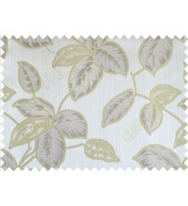 Green grey brown colour natural floral leaf design poly main curtain designs