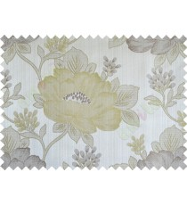 Green grey brown colour beautiful natural big flower design poly main curtain designs