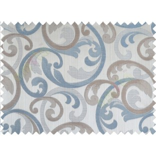 Aqua blue brown cololur beautiful traditional design poly main curtain designs