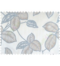 Aqua blue brown colour natural floral leaf design poly main curtain designs