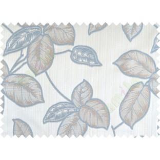 Aqua blue brown colour natural floral leaf design poly main curtain designs
