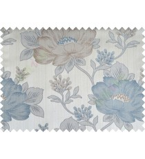 Aqua blue brown colour beautiful natural big flower design poly main curtain designs
