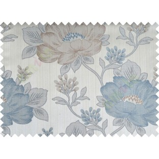 Aqua blue brown colour beautiful natural big flower design poly main curtain designs