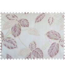 Purple brown beige colour natural floral leaf design poly main curtain designs