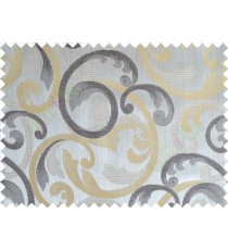 Yellow grey black cololur beautiful traditional design poly main curtain designs