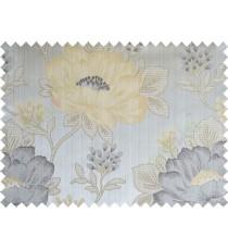 Yellow grey black colour beautiful natural big flower design poly main curtain designs